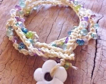 Crochet Wrap Multi Colour Beaded Summer Bracelet With White Glass Flower Toggle
