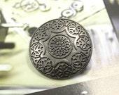 Metal Buttons - Medieval Mandala Flower Metal Buttons , Gunmetal Color , Shank , 1.10 inch , 6 pcs