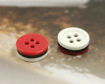 Cute Plastic Buttons - 10 Pieces of Red,Black and White Stack Plastic Buttons. 0.44 inch