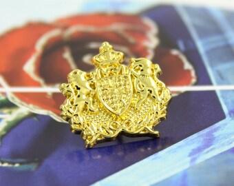 Metal Buttons - Unicorn Lion Emblem Metal Buttons , Gold Color , Shank , 0.75 inch , 6 pcs