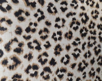 CHEETAH Print black and tan Linen, designer multipurpose fabric