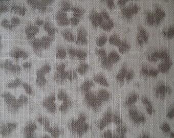 CHEETAH  Print  gray taupe-gray-cream, Linen designer  multipurpose fabric