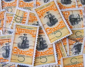 National Grange 30 Vintage US Postage Stamps 3c Farmer Farming Golden Sunflower Yellow Orange Dustbowl Scrapbooking Ephemera Rural Philately