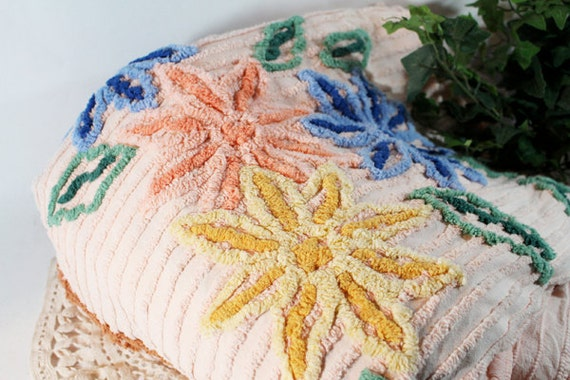 SALE - Chenille Bedspread Twin, Chenille Bedspread Full, Peach with blue and green
