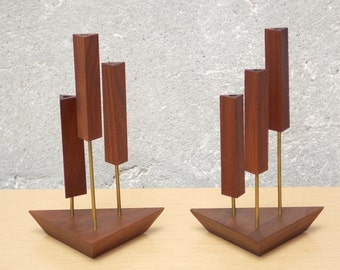 Mid Century Danish  Modern Walnut Triangle Candle Holders
