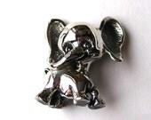Vintage Tortolani Silver Comical Elephant Figural Brooch Pin
