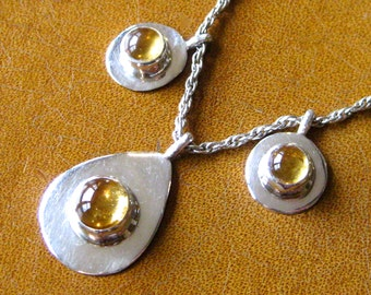 Vintage 70s 80s Designer Sterling Silver Amber Three Drop Abstract Necklace