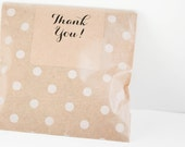 DIY Salted Caramel Bridal Shower or Baby Shower Favors in Brown Kraft Polka Dot Bag - 25 Guests