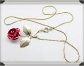 Vintage Red Rose Gold tone necklace