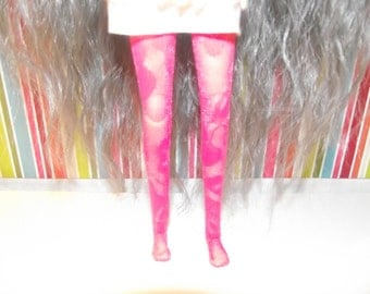 Hot Pink flowery sheer lace tights leggins for Pullip doll.