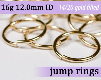 16g 12.0mm ID 14k gold filled jump rings -- open goldfill jumprings 16g12.00 jewelry findings supplies