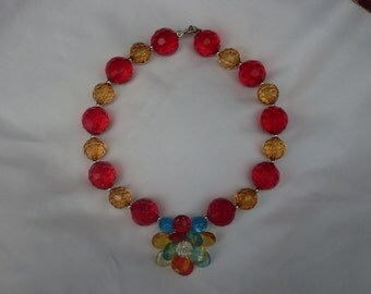 Crimson and Gold Bubblegum Bead Necklace with Flower