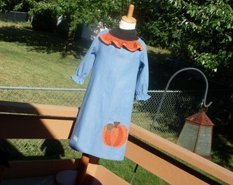 Country Pumpkin Denim Peasant Dress, Size 3-4, 5-6, 7-8, and 9-10