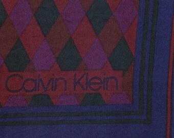 Vintage Calvin Klein Silk Scarf burgundy navy blue