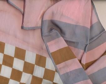 SALE Bubble gum and Chocolate silk scarf Anne Klein