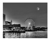 "Seattle Summer Twilight, Black and White Fine Art Photograph, available in 5x7"", 8x10"", 11x14"", 13x19"" and as a Note Card with envelope!"