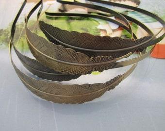 Antique bronze Headband, 6 Pcs Adjustable metal hair bands, Filigree Leaf HeadBands