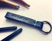 Longitude Latitude Leather Keychain