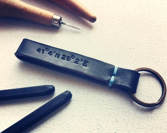 Custom Coordinate Leather Keychain fob