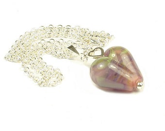 Jessica Sterling Silver & Lampwork Glass Heart Necklace