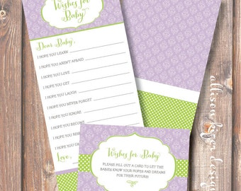 Printable Baby Shower Game - Wishes for Baby Purple & Lime Damask - Lavender and Lime Baby Wishes Baby Girl Damask - INSTANT DOWLOAD