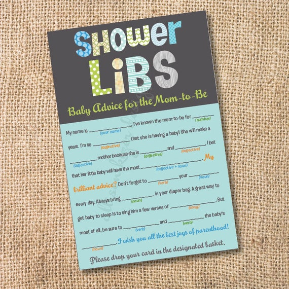 Baby Shower Tips For New Moms: Funky Letters Boy Printable Baby Shower Mad Libs Advice