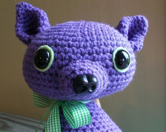 rat mouse // plush toy crochet amigurumi doll // purple and green