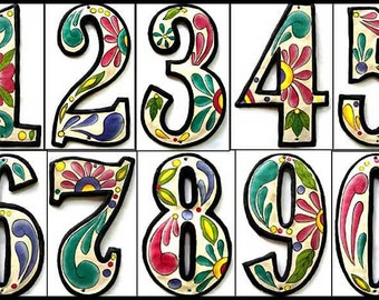 """Address Numbers - 2 House Numbers - 4 1/2"""" Hand Painted Metal Address Sign - Haitian Recycled Steel Drum Metal Art - AD-100-4W"""