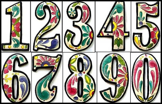 "Address Numbers - 2 House Numbers - 4 1/2"" Hand Painted Metal Address Sign - Haitian Recycled Steel Drum Metal Art - AD-100-4W"