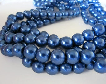 10mm Glass PEARL Beads in Dark Denim Blue, 50 Pieces, Round