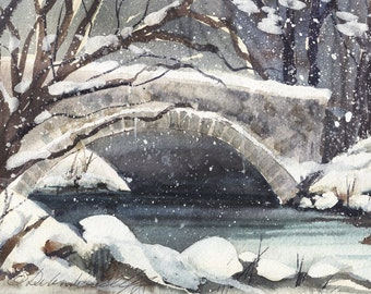 Winter Bridge, Watercolor Print, Yosemite, River, Snow