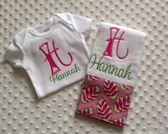 Baby Girl 2 PC Gift Set, Personalized Bodysuit and Burp Cloth,