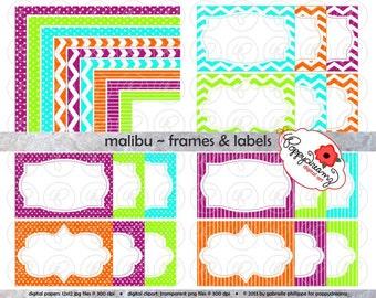 Malibu Frames & Labels: Clip Art Pack Card Making Digital Frames Page Borders Chevron Dots Stripes