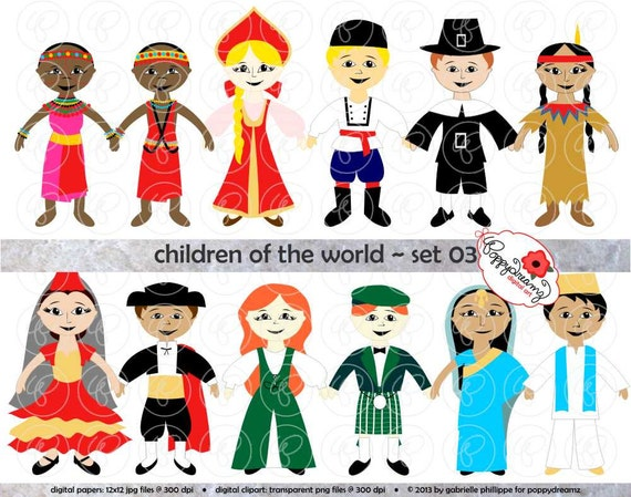 Children of the World Set 03 Digital Clip Art: Kenya Russia