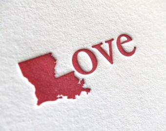 Letterpress Note Card - Louisiana Love