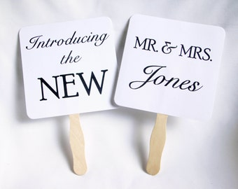 Set of Double Sided Wedding Picture Signs - Introducing the New Mr. & Mrs. Thank You Engagement Photo Props Photo Booth Prop Bridal Shower