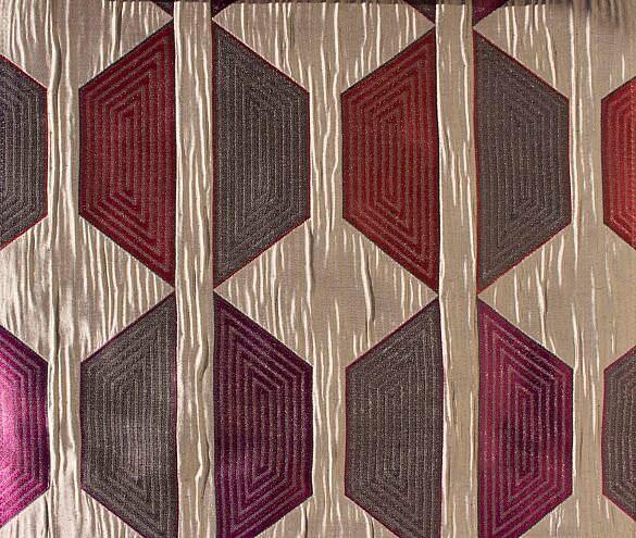 Custom Curtains With Beige Wine Burgundy Geometric Pattern