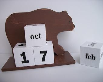 Bear Calendar Perpetual  Wood Block Rustic Primitive Brown Bear Decor
