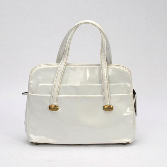 1960's White Patent Purse Mod Vintage Handbag