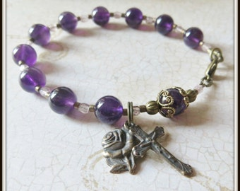 Amethyst Rosary Bracelet in Bronze, Catholic Birthstone Bracelet w/ Miraculous Medal
