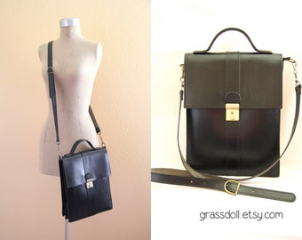 Vintage Black Vertical Leather Shoulder Bag , Black Leather Messenger Bag,  Made in Greece