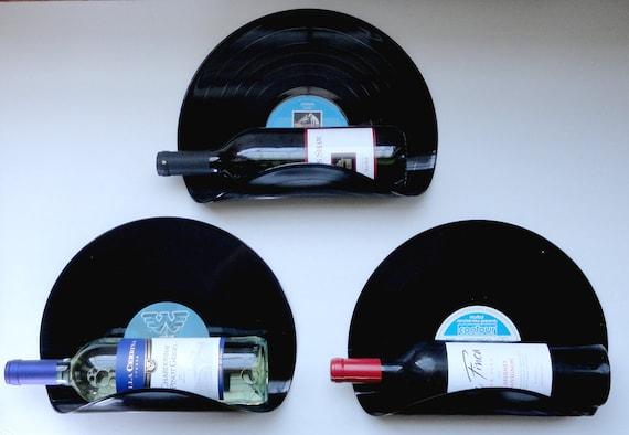 Upcycled Vinyl Record Wine Rack Wall Organizer - Set of 3