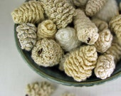 Pine Cone Wedding Favor Rustic Modern Vase Filler Ornament Decoration  -  in Creams and Whites -  (6 Crocheted Cones)