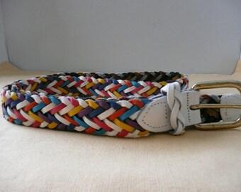 Women's Retro Jewel Tone Braided Leather Belt by Capezio, size ML