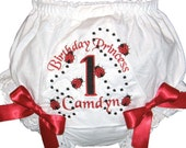LadyBug 1st, 2nd 3rd Birthday Personalized Baby Girl  Bloomers, Diaper Cover, Panties