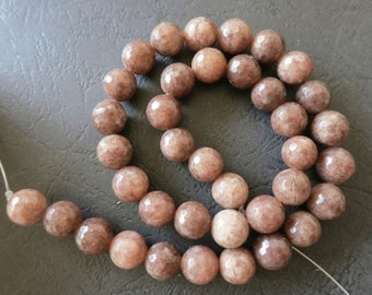 2 str -Coffee Brown Jade 10mm round Faceted Beads