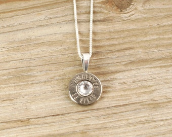 Bullet Necklace / 38 Special Nickel Bullet Head Necklace with Sterling Silver Box Chain WIN-38-N-SBHN / Lightweight Necklace / Comfortable