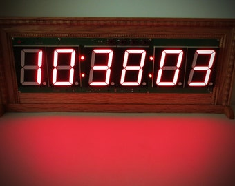 "Six Digit Giant 3""LED Real Time Clock With Temperature - The  ""Gigante"""