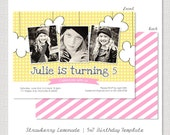 Strawberry Lemonade - 5x7 Horizontal Postcard Birthday Card PSD Template Design INSTANT DOWNLOAD