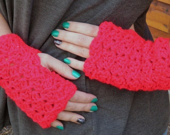 Crocheted Fingerless Gloves, Red, with Free Coffee Cozy